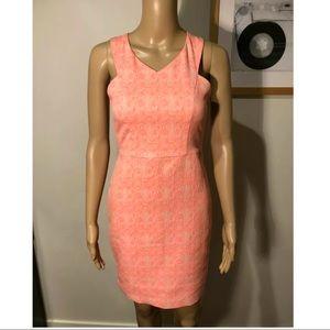 Zara coral cross back bodycon dress